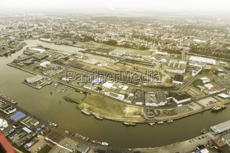 aerial view of harbour and industrial