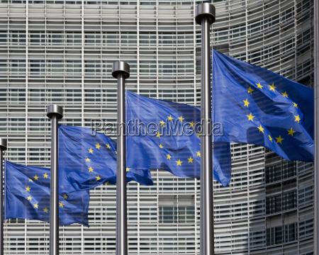 european flags outside the berlaymont office