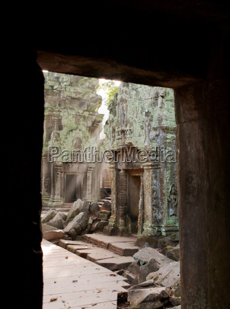 sunrise in a temple at angkor