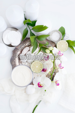 face cream leaves and flowers