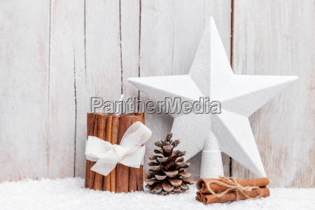 christmas decoration background with snow