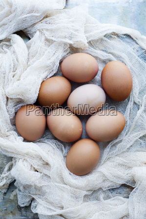 still life of fresh organic eggs
