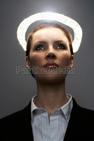 business woman with halo