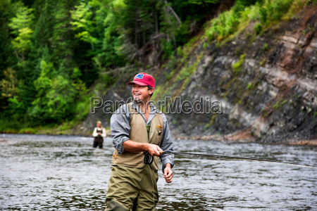 fly fishers in margaree river cape