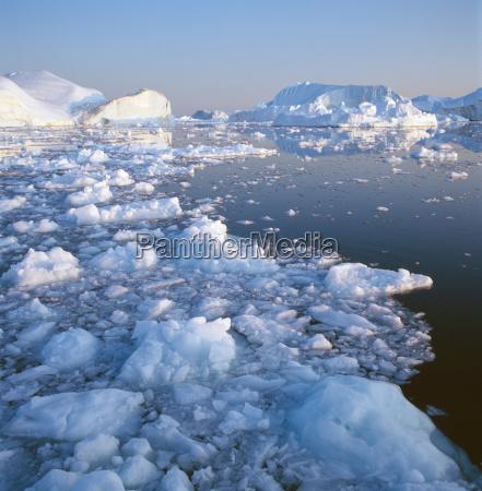 icebergs in waters of disko bay