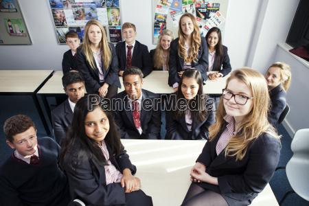 group portrait of teenage schoolchildren in