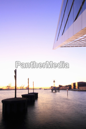 silhouette of platforms in harbor