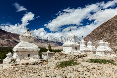 buddhist stupas nubra valley ladakh india