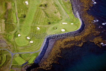 aerial view of golf course on