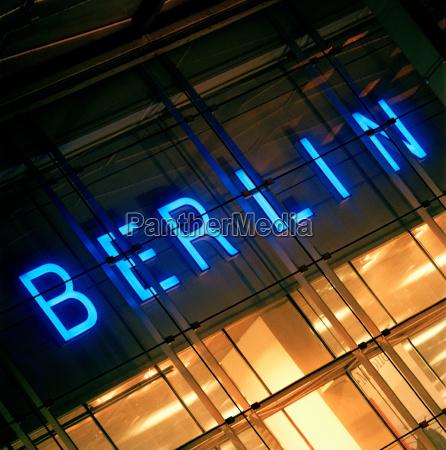 neon illuminated berlin sign berlin germany