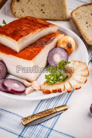 salty lard with red paprika