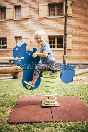 side view of boy in playground