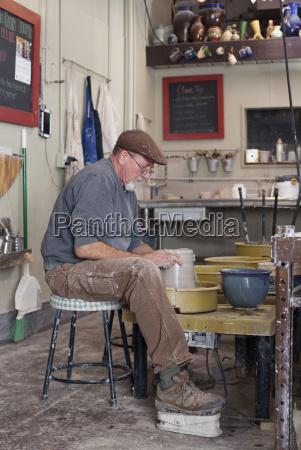 full length side view of potter