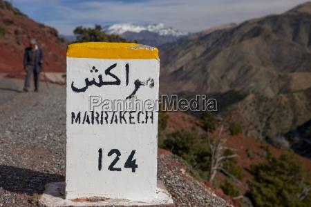 close up of marrakech milestone on