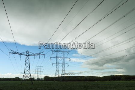 silhouetted view of power lines and