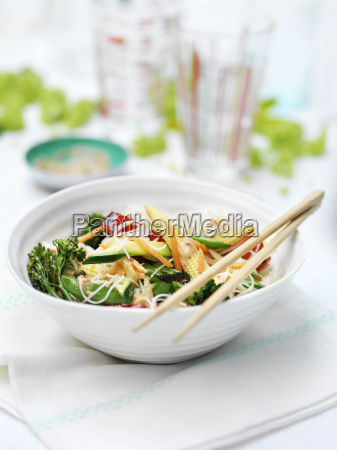 bowl of mixed vegetables baby sweetcorn