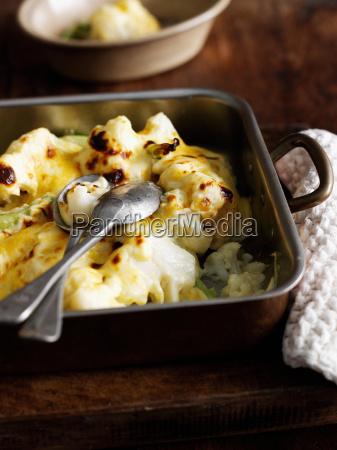 dish of roast cauliflower with cheese