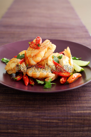 plate of prawns with peppers