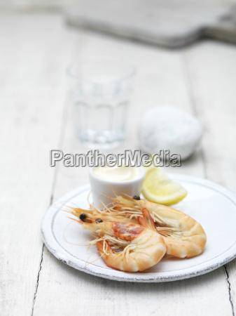 still life starter of prawns with