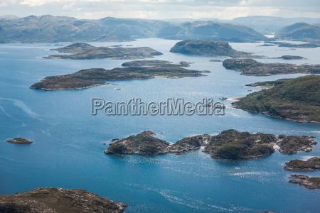 aerial view of rocky coastline