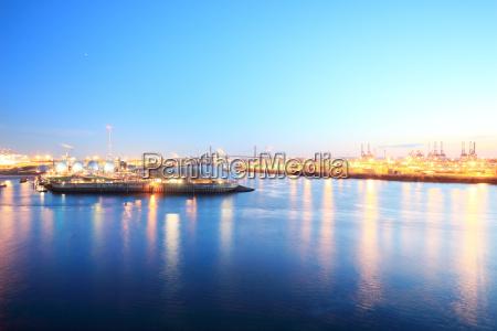 distant view of port of hamburg