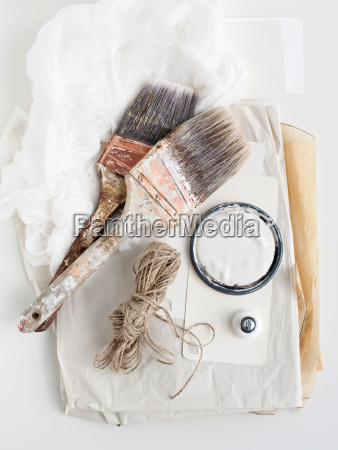 still life of decorating brushes and