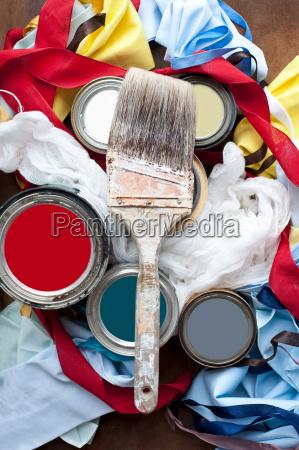 still life of paint brush paint