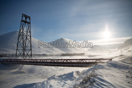 view of bridge in snowy landscape