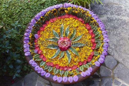 circular floral arrangement gobleg bali indonesia