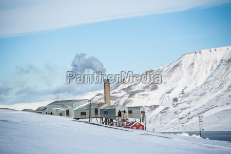 view of factory and mountains longyearbyen