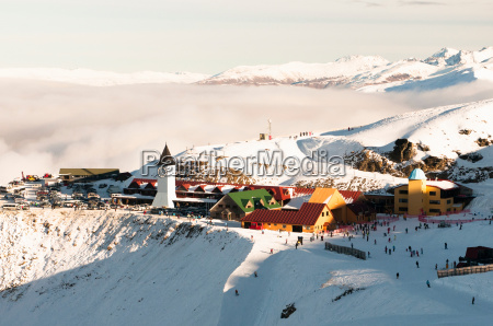 aerial view of snowy mountain town