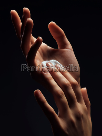 close up of womans hands with
