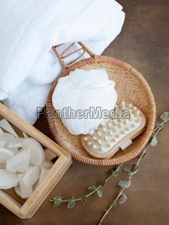 bathtime beauty products and toiletries overhead
