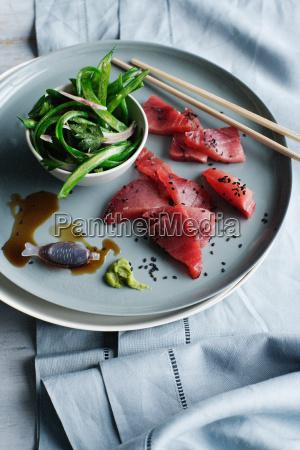 plate of tuna and sashimi bean