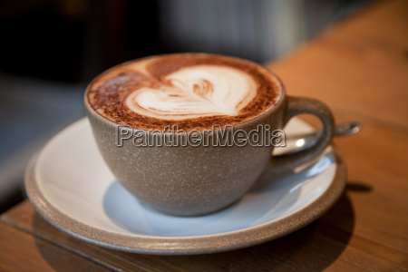 cappuccino with heart shape in froth