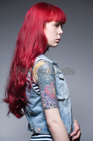 young woman with long red hair