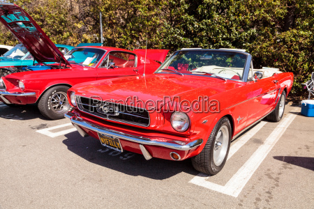 red 1965 ford mustang