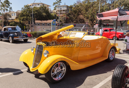 yellow 1934 ford roadster