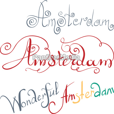 vector amsterdam hand written inscription