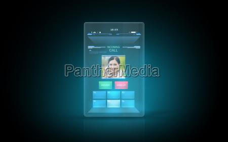 tablet with video call interface on