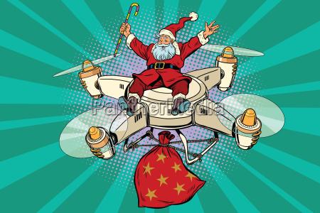 retro santa claus flies on the