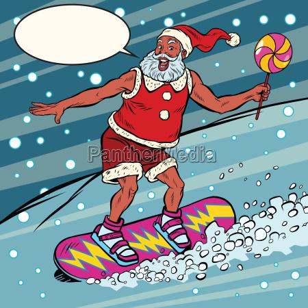 modern santa claus rides on a