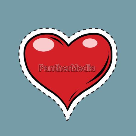 red heart valentine pop art retro