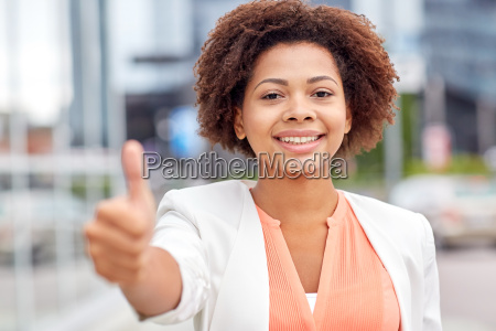 happy young african american businesswoman in