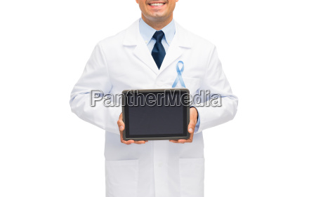 happy doctor with prostate cancer awareness