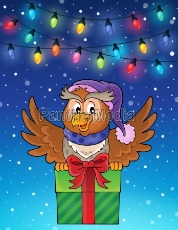 owl with gift theme image 6