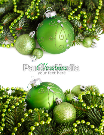 green christmas ornaments border