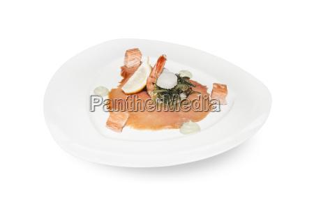 smoked salmon and king prawn appetizer