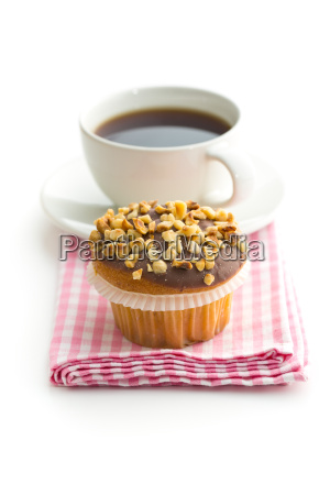 sweet hazelnut muffins and coffee cup
