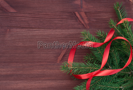 branch with red ribbon on brown